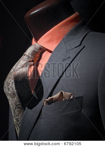 Dark Grey Jacket With Orange Shirt, Patterned Tie And Handkerchief (vertical)