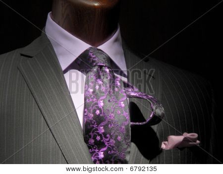 Striped Jacket With Purple Shirt, Patterned Tie And Handkerchief