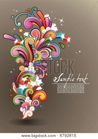 background with colored contemporary abstract floral ornament