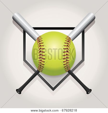 Softball, Bat, And Homeplate Emblem Illustration