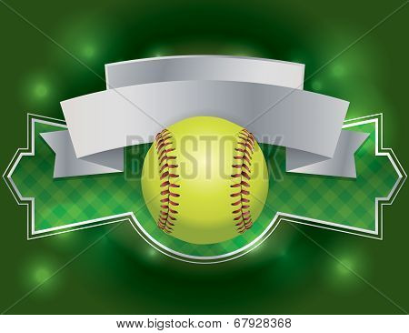 Softball Label And Banner Illustration