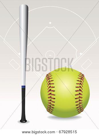 Softball Field, Ball, Bat Illustration