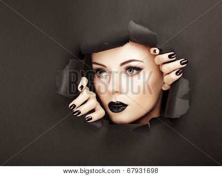 Conceptual beauty portrait of beautiful young woman. Perfect Manicure. Cosmetic Eyeshadows. Fashion photo poster