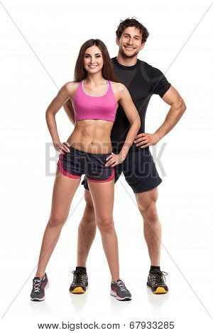 Athletic  Man And Woman After Fitness Exercise On The White Background