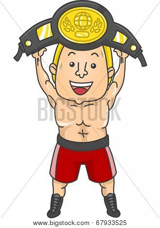 Illustration of a Boxer Holding His Championship Belt Above His Head