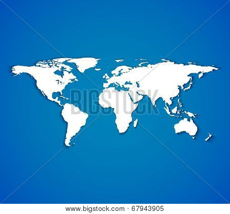 White world map with smooth shadows on blue background