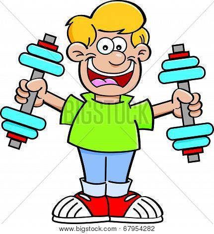 Cartoon Boy Exercising
