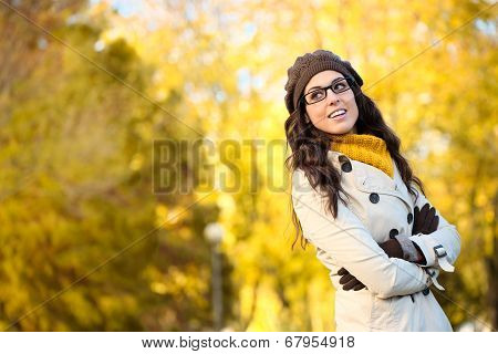 Happy Fashion Woman Wearing Glasses In Autum