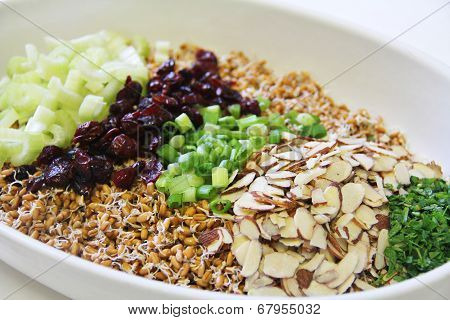 Wheatberry Salad Ingredients In Bowl