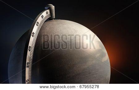 Emty Metal Desktop Globe Close Up