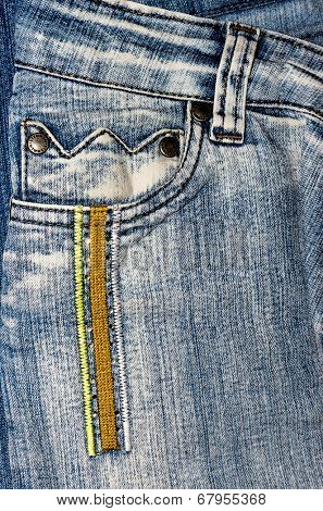 GOMEL, BELARUS - MAY 3 2014: Close up of the Stenmen denim jeans. Stenmen is a trademark of Turkish firm AIVMA 95 SRL.