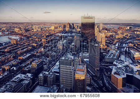 Boston aerial view with skyscrapers at sunset
