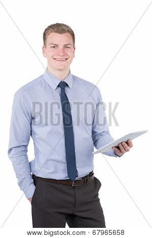Young Smiling Man Is Holding A Tablet