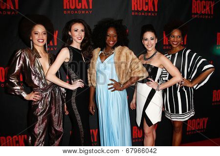 NEW YORK-MAR 13: (L-R) Sasha Hutchings, Kristin Piro, Vasthy Mompoint, Samantha Shafer and Dan'Yelle Williamson attend 'Rocky' after party at Roseland Ballroom on March 13, 2014 in New York City.