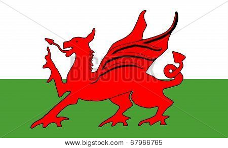The national Flag of Wales with the red dragon poster