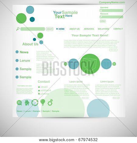 Website template circle website green blue
