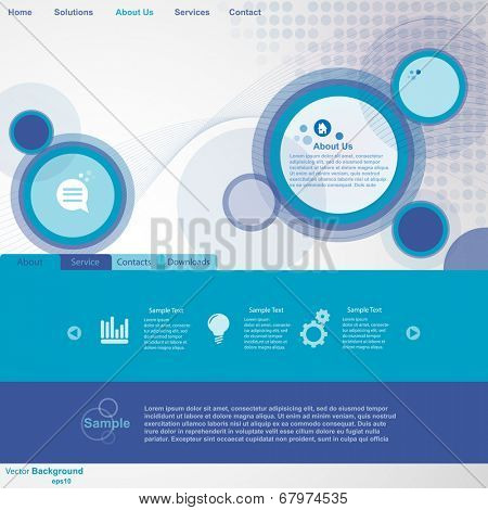 Website Template with abstract blue circles