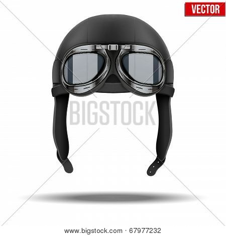 Retro aviator pilot leather helmet with goggles. Vintage object. Vector Illustration. Isolated on white poster