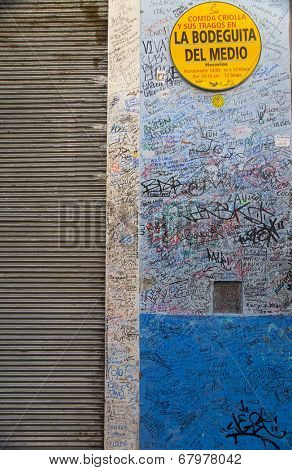 HAVANA, CUBA, JUNE 30, 2011. View of signatures and graffitis from