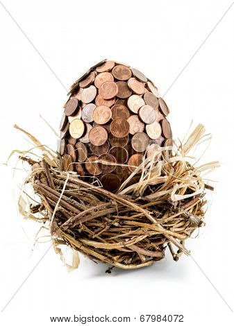 One eurocent egg in bird's nest shot on white background