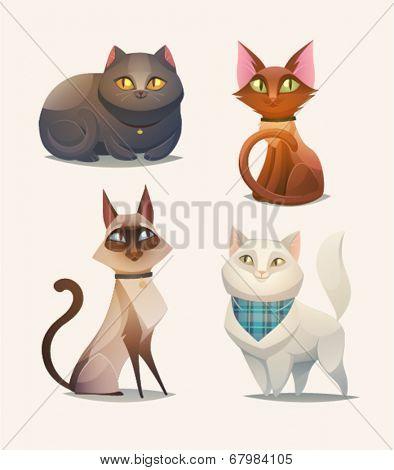 Cat characters. Cartoon vector illustration.