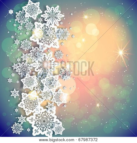 Holiday background and snowflakes and lights. Copy space