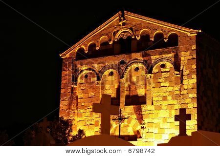 Pisan Romanesque Church In Aregno At Night, Corsica