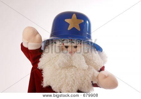 Santa With A Keystone Cop Hat