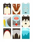 North pole animals collection. Vector layered EPS8 illustration. poster
