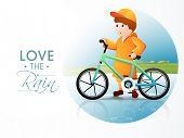Cute little boy wearing yellow raincoat ready for cycling on beautiful monsoon season.  poster