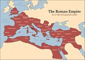 The Roman Empire at its greatest extent in 117 AD at the time of Trajan, plus principal provinces. Vector illustration. poster