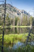 reflections in a lake along Chief Joseph Scenic Byway in Wyoming. poster
