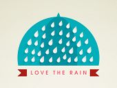 Stylish sticky design with raindrops. Monsoon Season concept.  poster