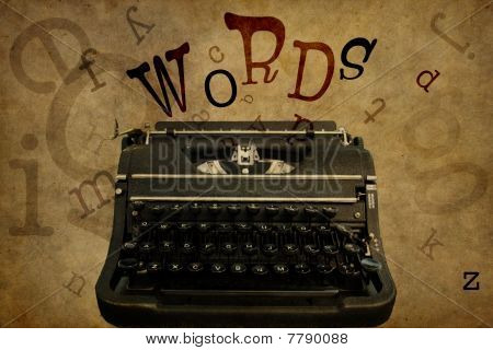 WORDS & Vintage Typewriter