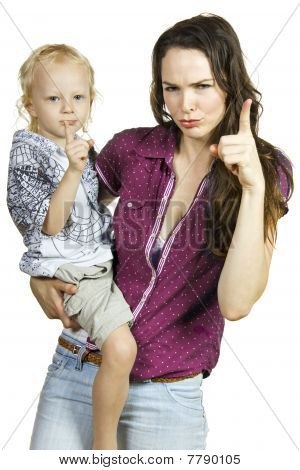 Mother and son pointing warning fingers