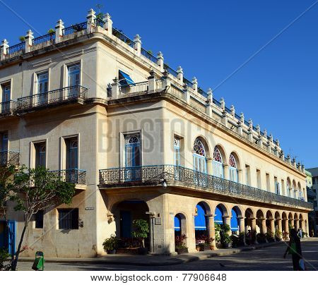 Typical old, colonial-style building in central Havana, Cuba
