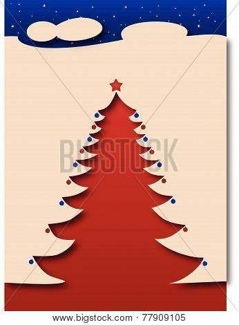 Christmas tree under stars - beige
