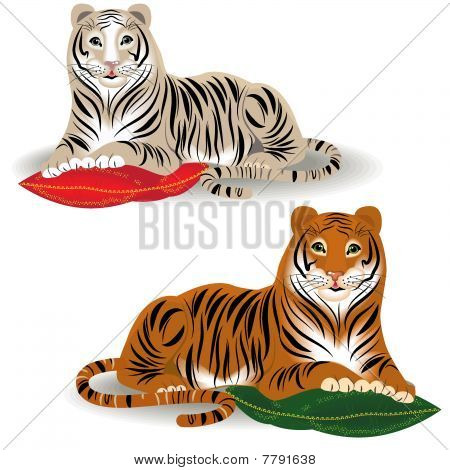 Bengal and Amur tiger. Illustration in vector format EPS. poster