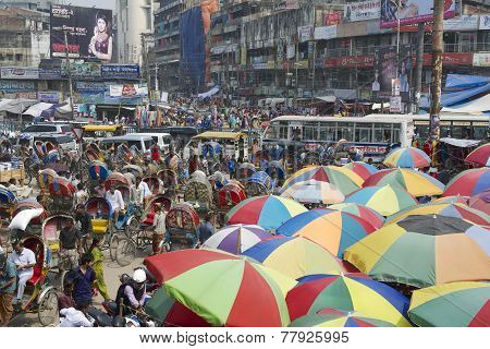 People go to shopping at the Old market in Dhaka, Bangladesh.
