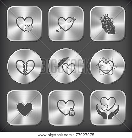 Heart shape set. Vector round and square steel buttons.