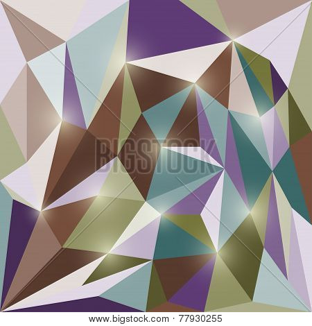 Abstract polygonal triangular geometric background with glaring lights poster