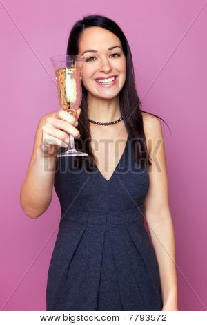 Woman Raising A Glass Of Champagne