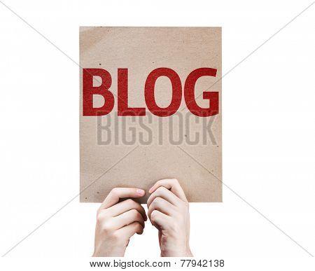 Blog card isolated on white background