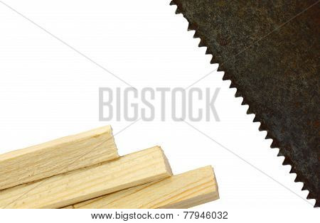 Wooden Beams And An Old Saw