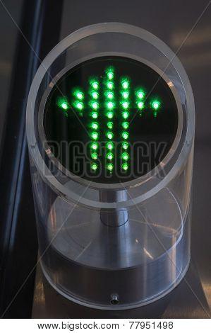 Arrow sign on Automatic Escalator
