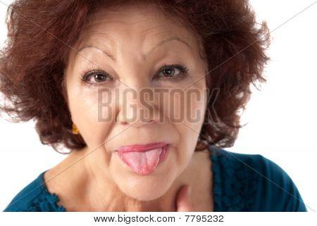 Senior Woman Razz Cheerful Isolated On White Background