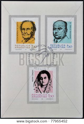 ARGENTINA - CIRCA 1986: Stamps printed in Argentina shows Alicia Moreau de Justo Emilio Ravignani