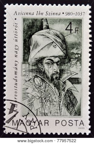 HUNGARY - CIRCA 1987: A stamp printed in Hungary shows portrait of Avicenna Ibn Sina