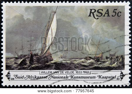 SOUTH AFRICA - CIRCA 1980: A stamp Printed in South Africa shows Sail Boats on Stormy Sea