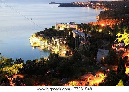 Coastal Town Of Omisalj Aerial View